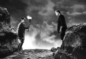 Frankenstein (Clive) confronts his creation (Karloff)