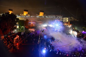 The Queen Mary transformed into Dark Harbor
