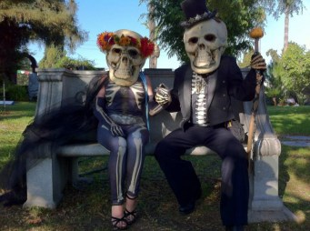 The dead take a break from the Dia De Los Muertos festivities in Hollywood Forever Cemetery.