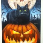 October Shadows 2014: painting with skull-faced moon and a black cat atop a Jack O'Lantern