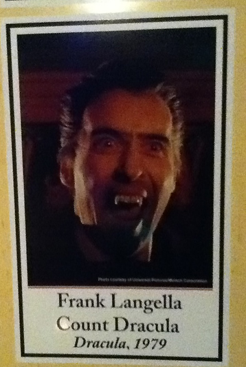An embarrassing caption error misidentifies Christopher Lee as Frank Langella. Strangely, the same photo is inches away, correctly captioned as Lee in 1965's DRACULA, PRINCE OF DARKNESS.