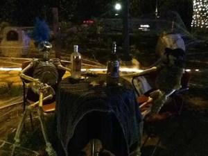 Patrons enjoy a quiet drink after the evening's festivities.