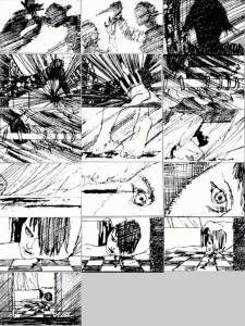 Saul Bass's storyboard for the shower scene in Psycho