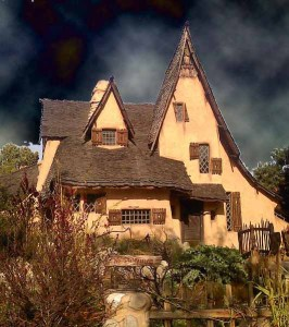 Beverly Hills Witch House with clouds