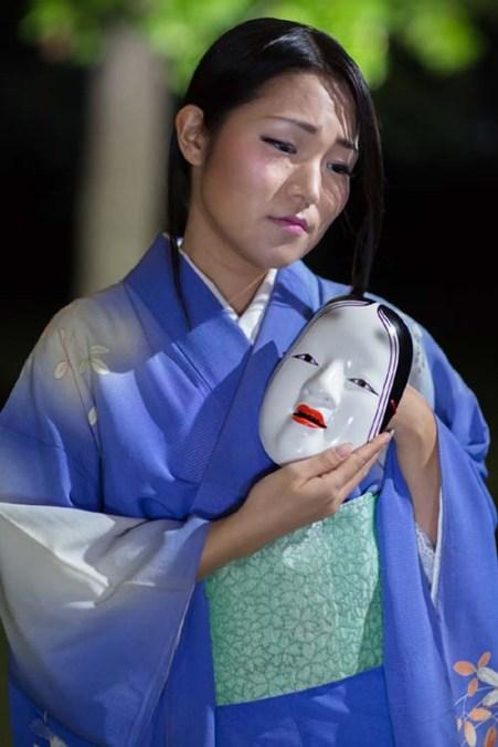 "Alpha Takahashi with mask in ""The Grove of Rashomon."" Photo by Daniel Kitayama"