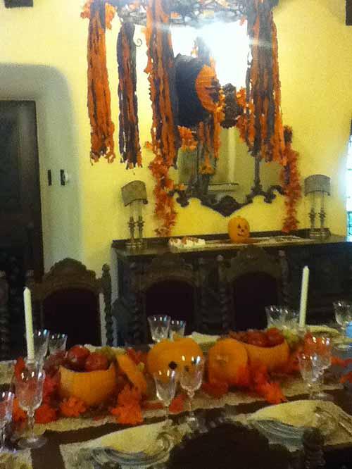 Halloween decor inside the Temple House