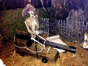 A pirate skeleton at a Torrance yard haunt.