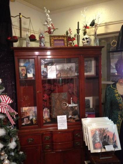A cabinet full of non-Christmas art