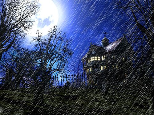 Haunted House in Rain