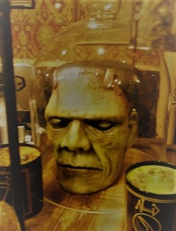 Frankenstein head in a jar.
