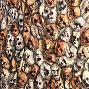 HorrorWorld Chainsaw Massacre faces backdrop photo op