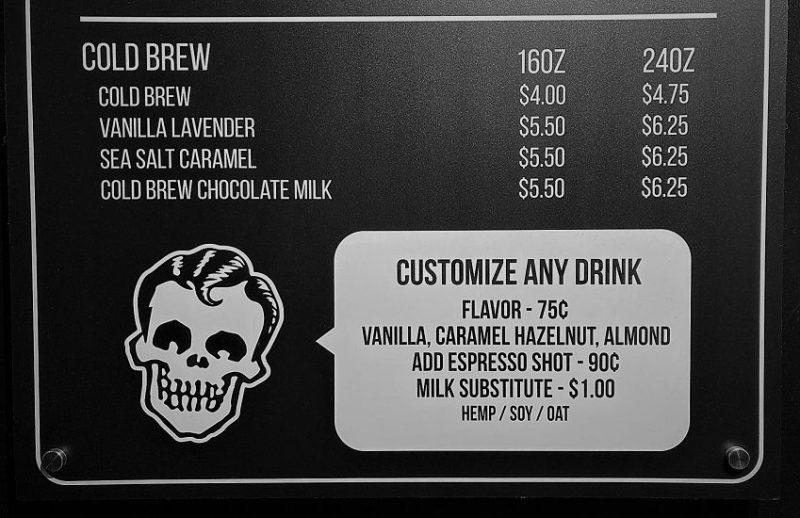 Rad Coffee Review menu