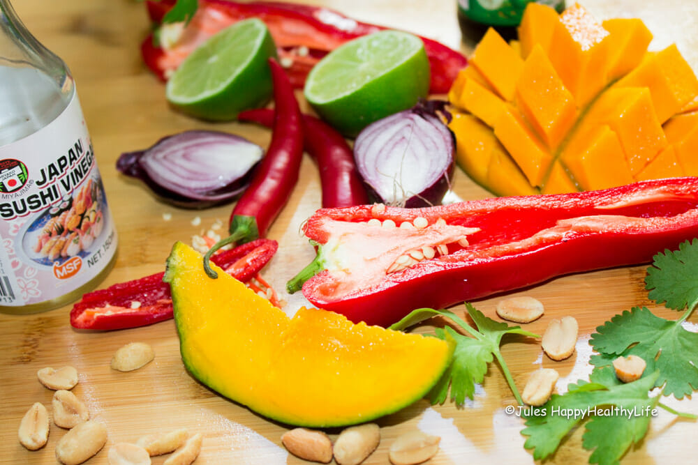 Mango, chili, pomegrenate and lime are just some of the ingredients for this amazing salad