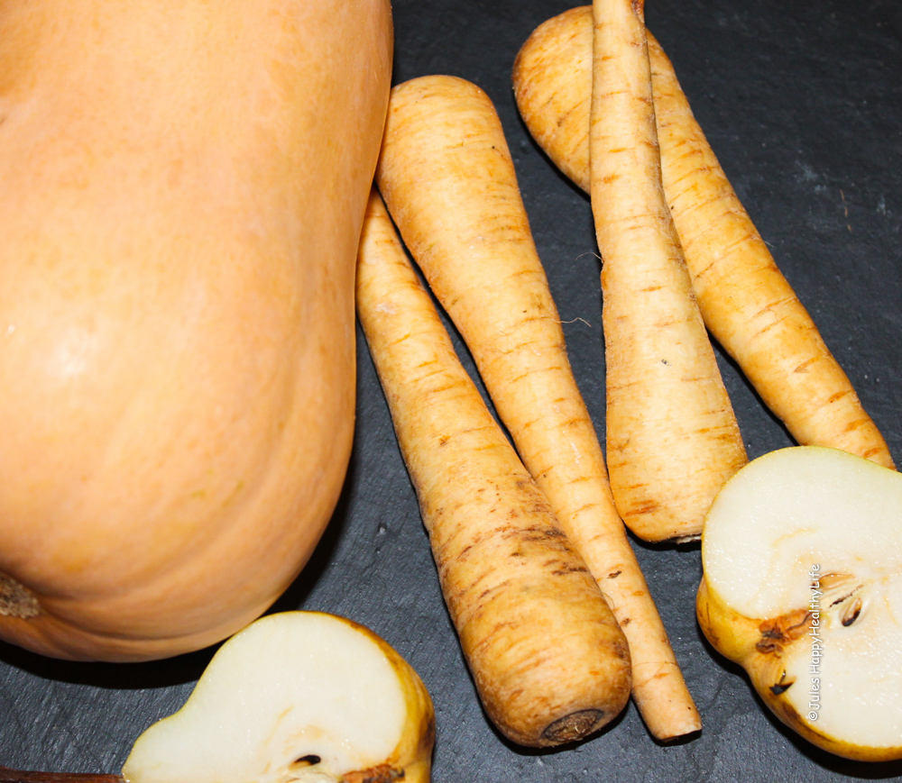 Butternut Squash, Pear and Parsnips for Miso Roasted Butternut Squash Soup