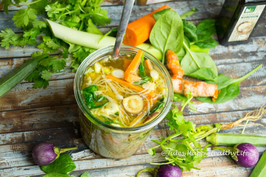 Glutenfrei, vegan Asiatische Suppe zum Mitnehmen