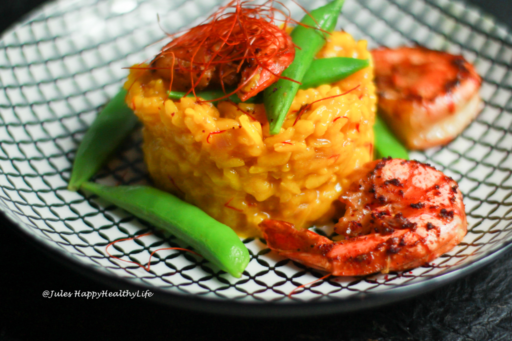 Recipe for gluten free Saffron Risotto with Miso Glazed Tiger Prawns