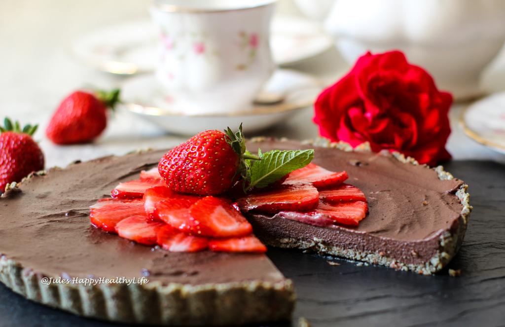 Happiness is a big piece of Raw Chocolate Ganache Tarte