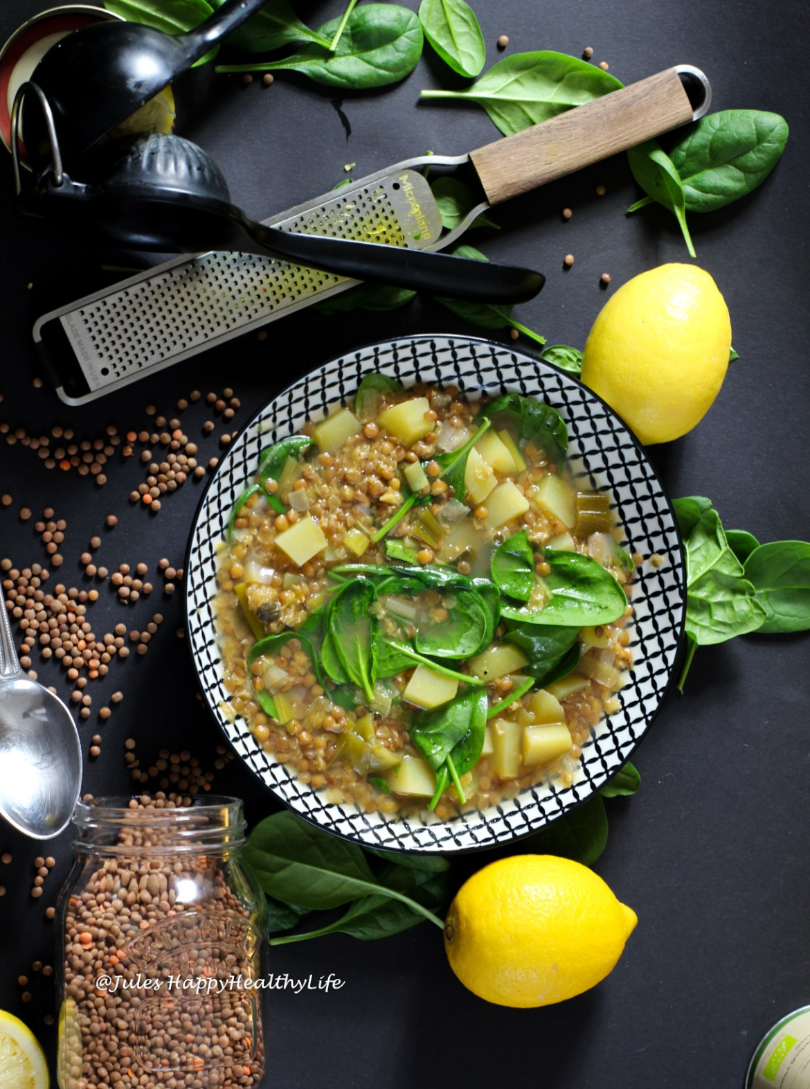 One of y favorites - Lentil Soup with Spinach and Lemon