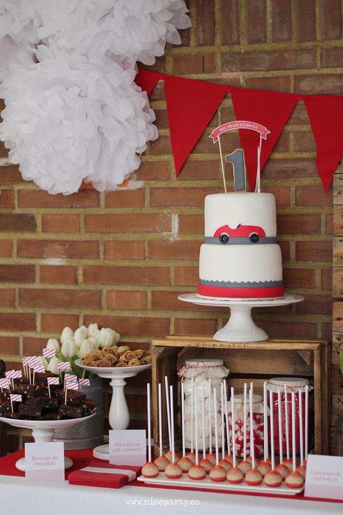 NiceParty Cumpleaños Mesa de dulces coche rojo vintage