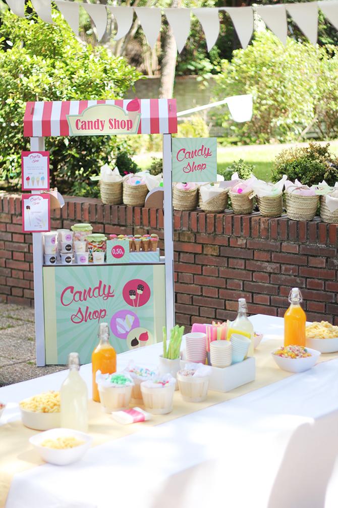 Nice Party: Cumpleaños de bienvenida al verano. Puesto de ikea convertido en una tienda de golosinas y helados.