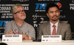 Sept 8, 2016. Beverly Hills CA.  (L-R) Boxing trainer Freddie Roach sit with boxing's only eight-division world champion Manny Pacquiao talks at a press conference on his upcoming fight with two-division world champion Jessie Vargas Thursday. The two will fight Nov 5th at the Thomas & Mac in Las Vegas NV.   photo by Gene Blevins/LA Daily News