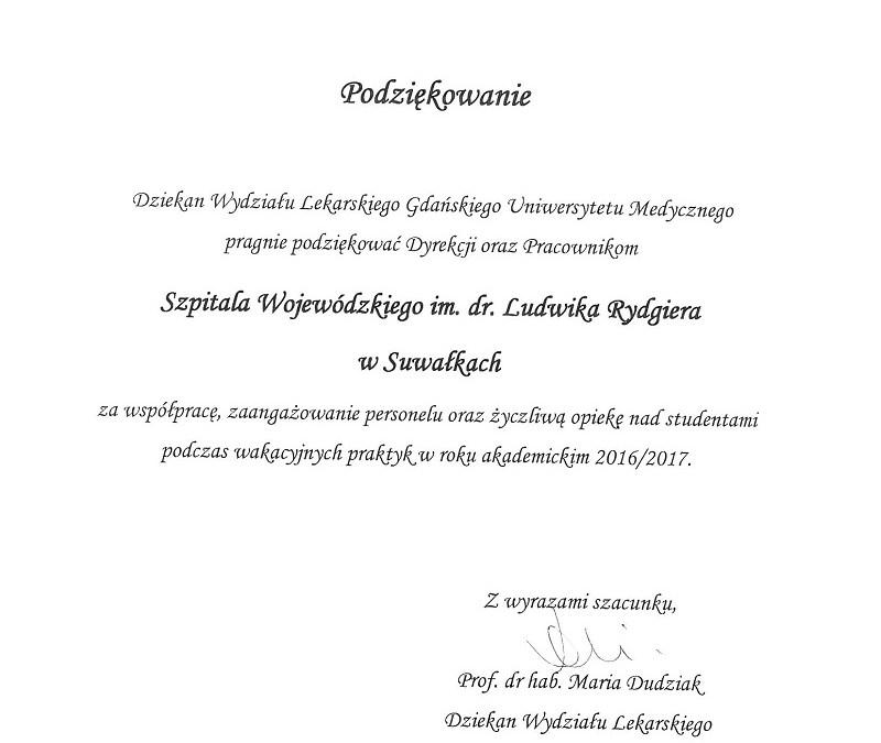 Podziękowania za współpracę od Gdańskiego Uniwersytetu Medycznego
