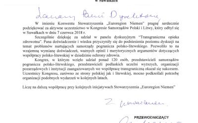 """Podziękowania Stowarzyszenia """"Euroregion Niemen"""""""