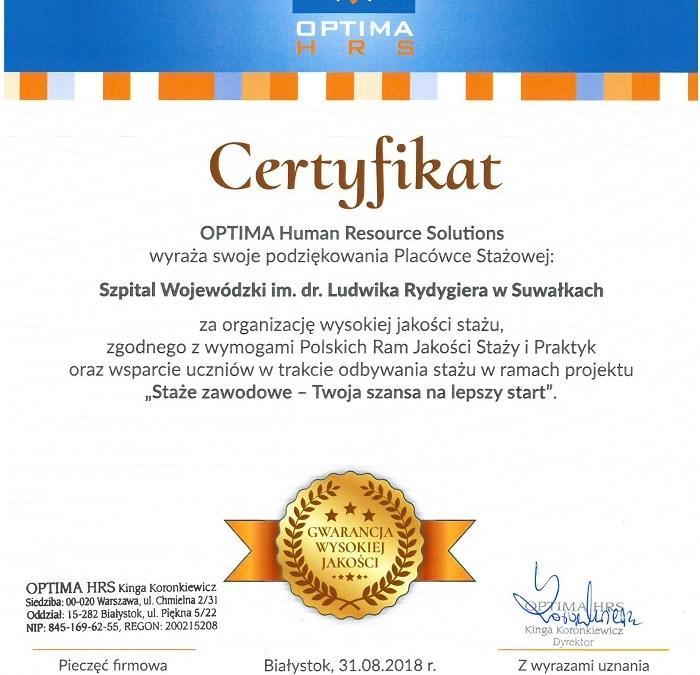 Podziękowanie od Optima Human Resource Solutions