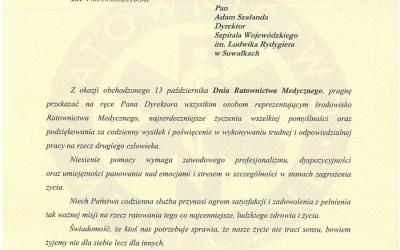 Życzenia Wojewody Podlaskiego z okazji Dnia Ratownictwa Medycznego
