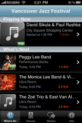 Jazz Fest Mobile Companion main screen
