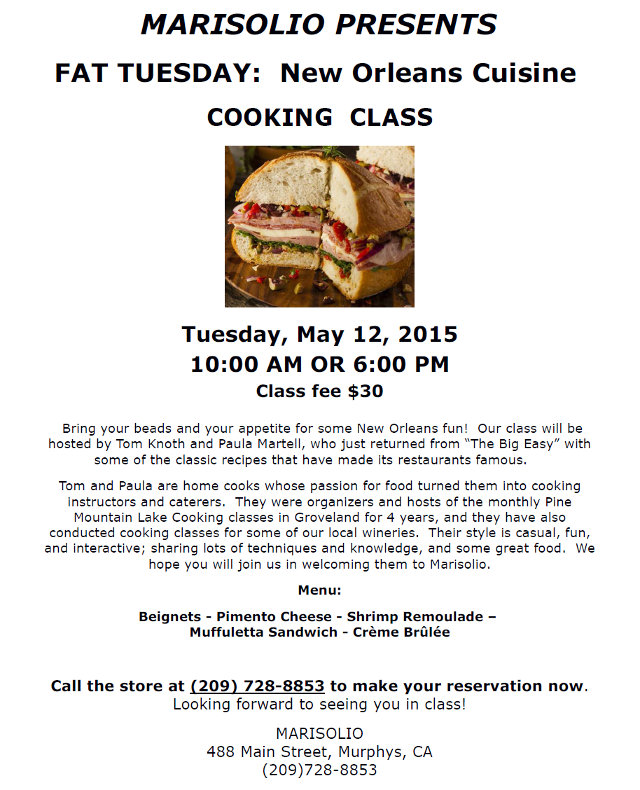MARISOLIO Presents FAT TUESDAY:  New Orleans Cuisine  Cooking Class