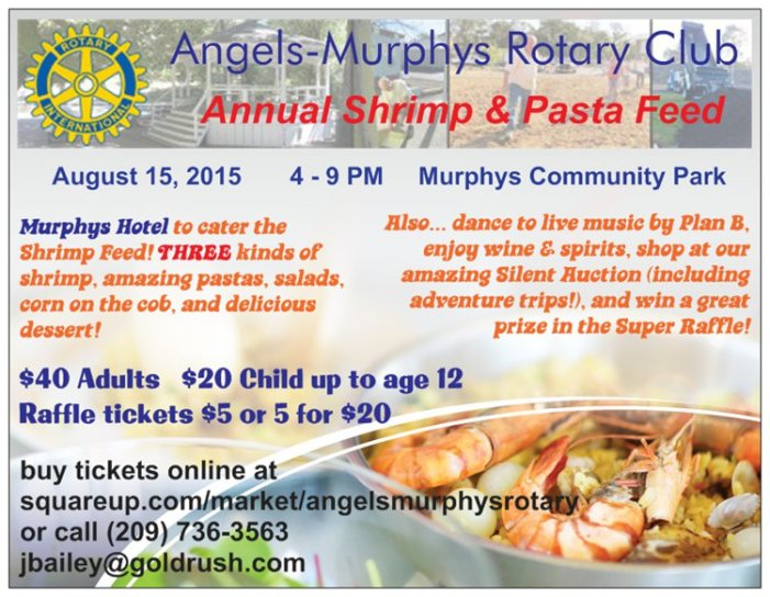 Join Angels-Murphys Rotary Club For Their Annual Shrimp & Pasta Feed