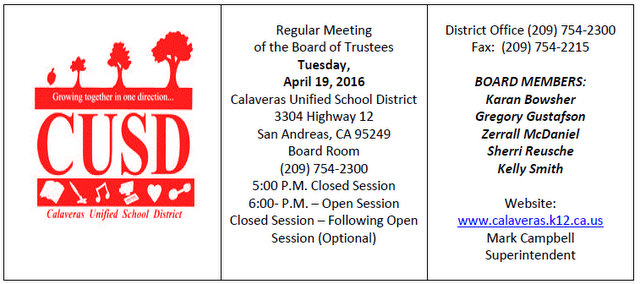 CUSD Board Back In Action On April 19th