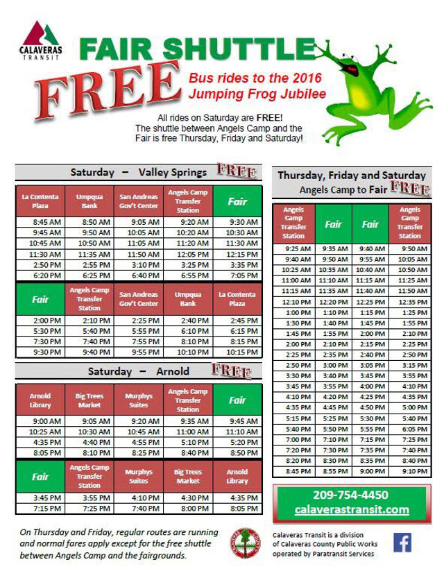 Free Fair Shuttle Now Serving Murphys and Arnold! Calaveras Transit Will Take You To The Jumping Frog Jubilee.