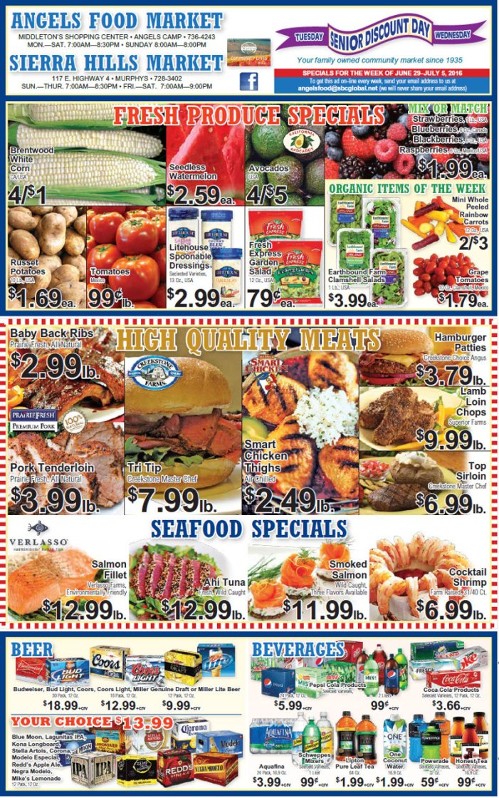 Happy Independence Day From Angels Food & Sierra Hills Markets!  Weekly Specials Through July 5