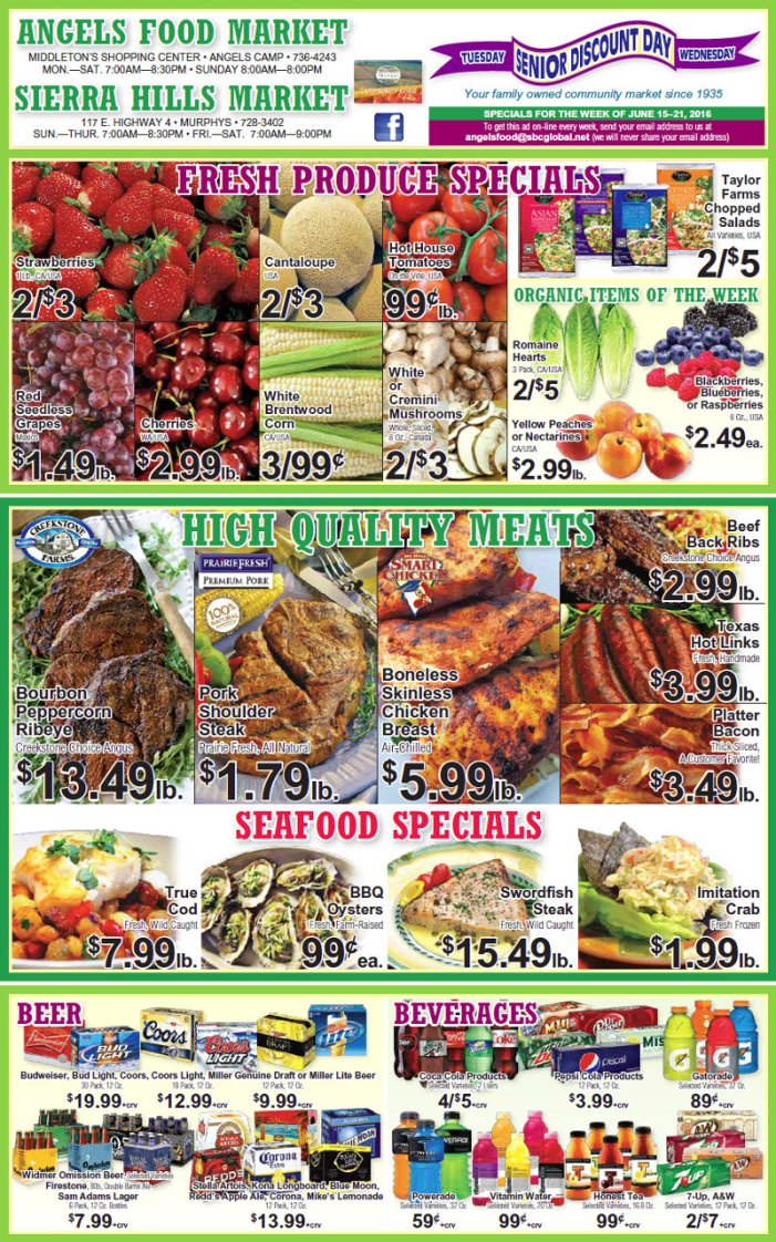 Shop Local! Sierra Hills, Angels Food & Sierra Hills Natural Food Markets Weekly Specials Through June 21st!