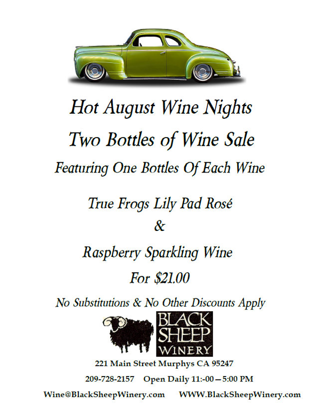 Great Black Sheep Winery Hot August Specials