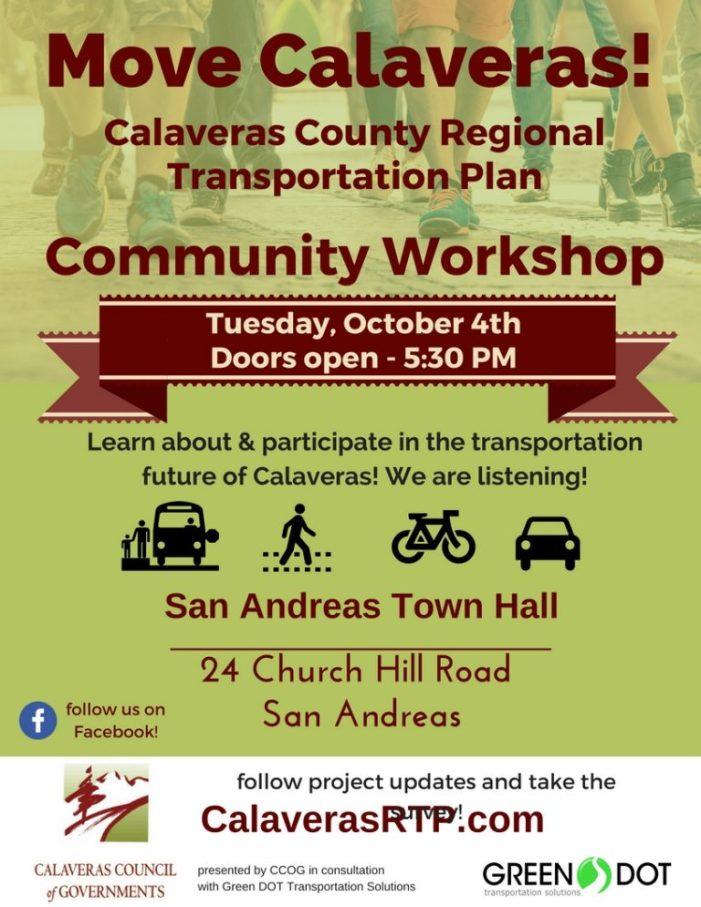 Calaveras Regional Transportation Plan Community Workshop