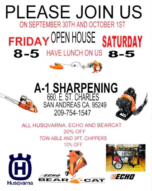 Don't Miss The Big A-1 Sharpening Open House Today & Tomorrow