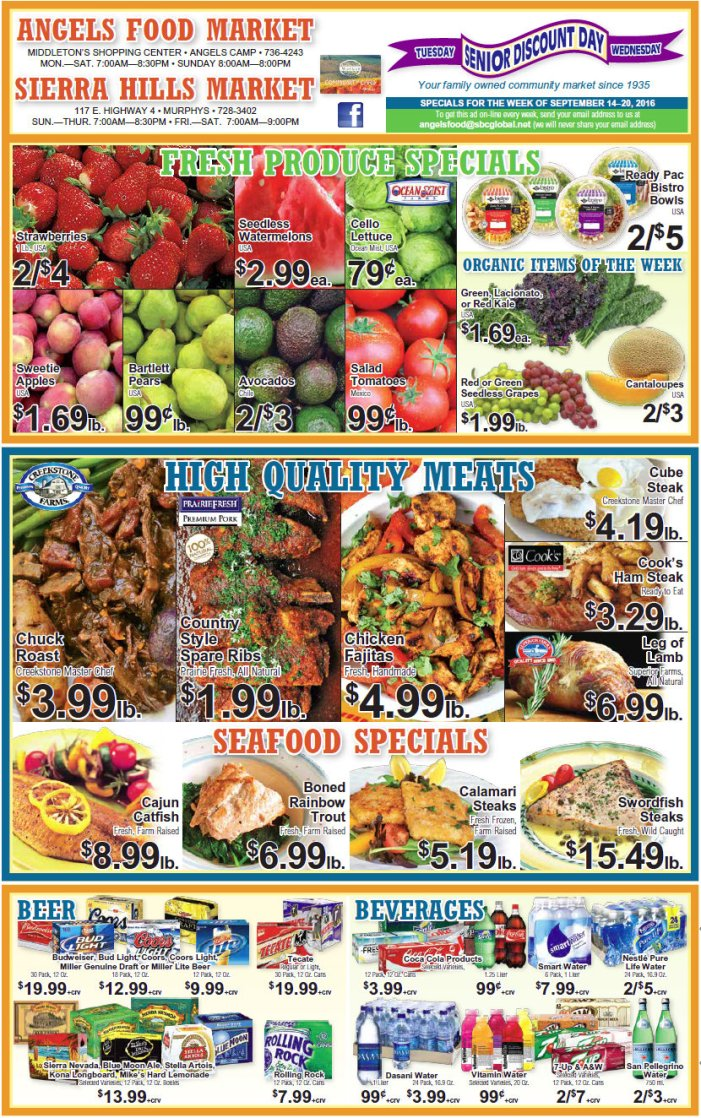 Angels Food & Sierra Hills Markets Weekly Ad September 14 – 20 Ask our Meat Department about our  'Special Meat Packs'