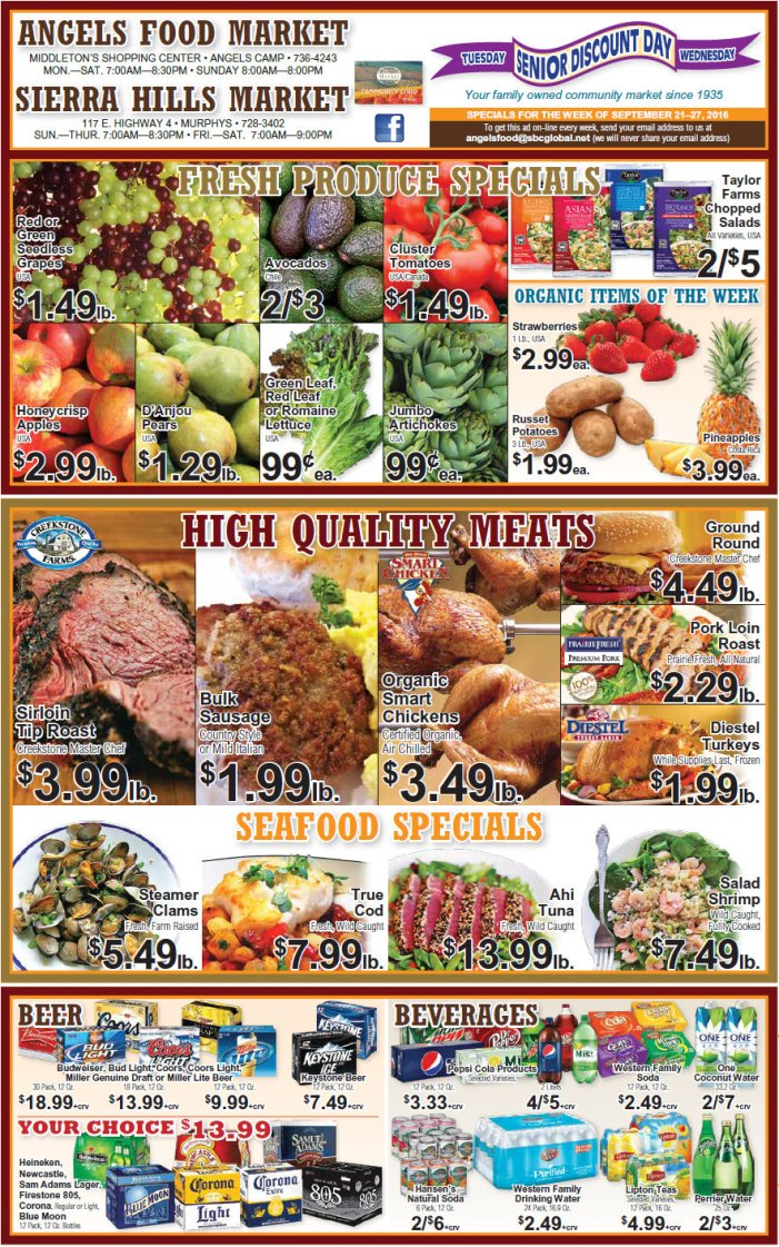 Angels Food & Sierra Hills Markets Weekly Ad Through September 27th