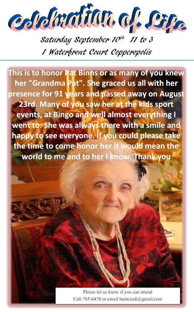 Celebration Of Life For Pat Binns Will Be On September 10th