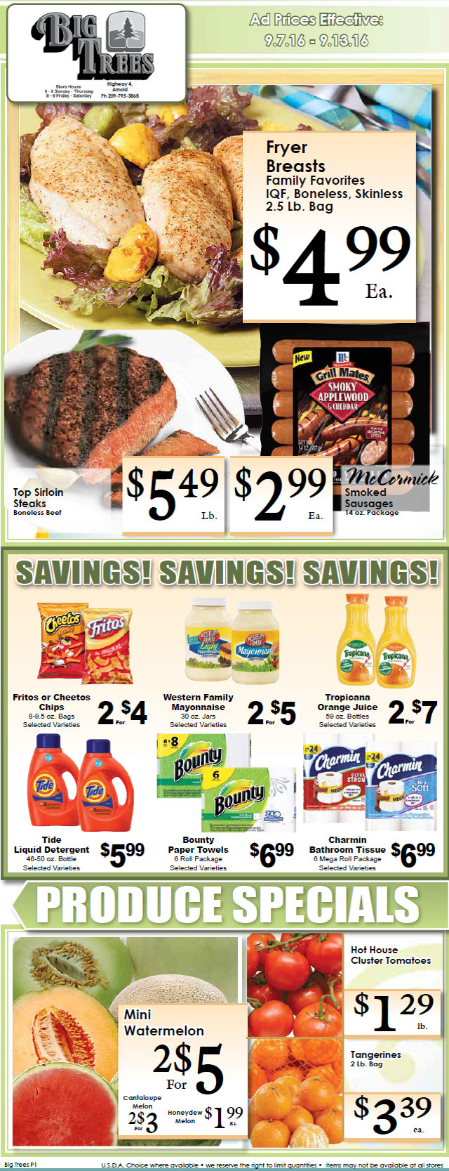 Big Trees Market Weekly Specials & Grocery Ads Through September 13th