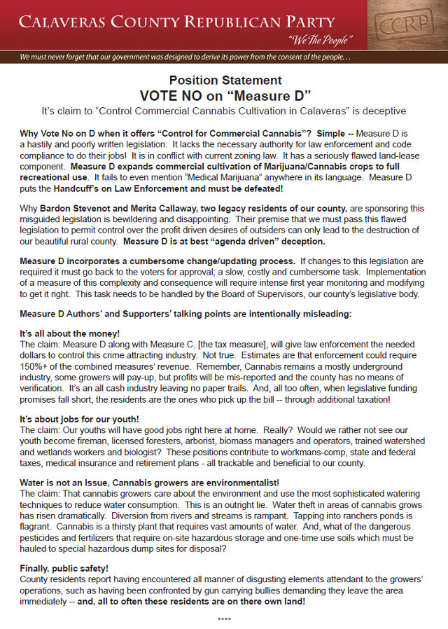 "VOTE NO on ""Measure D"" It's claim to ""Control Commercial Cannabis Cultivation in Calaveras"" is deceptive!"