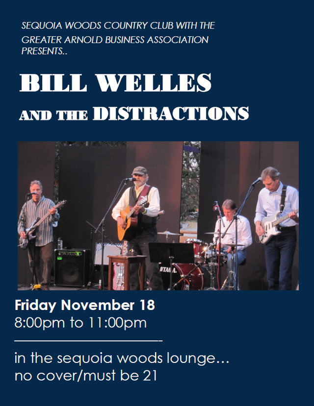 Bill Welles & The Distractions Tonight At Sequoia Woods
