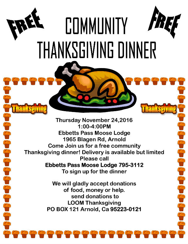 Arnold & Ebbetts Pass Community Thanksgiving Dinner