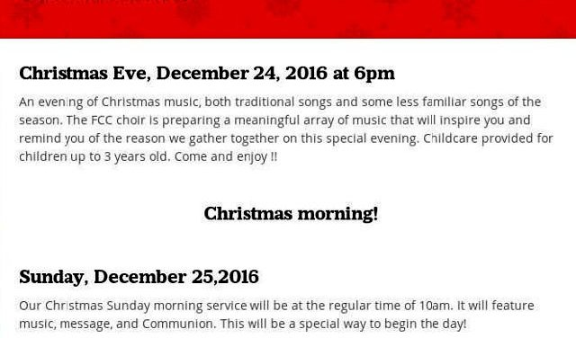 Foothill Community Church Christmas Programs