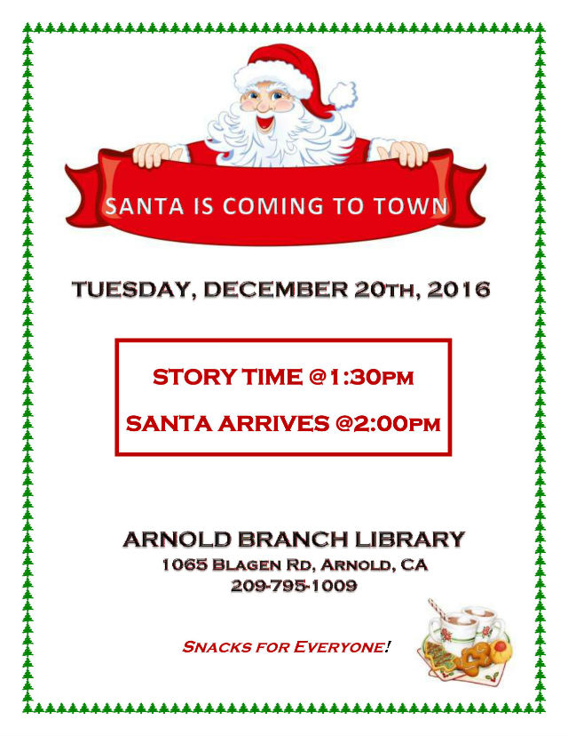 Santa Is Coming To Arnold Branch Library!
