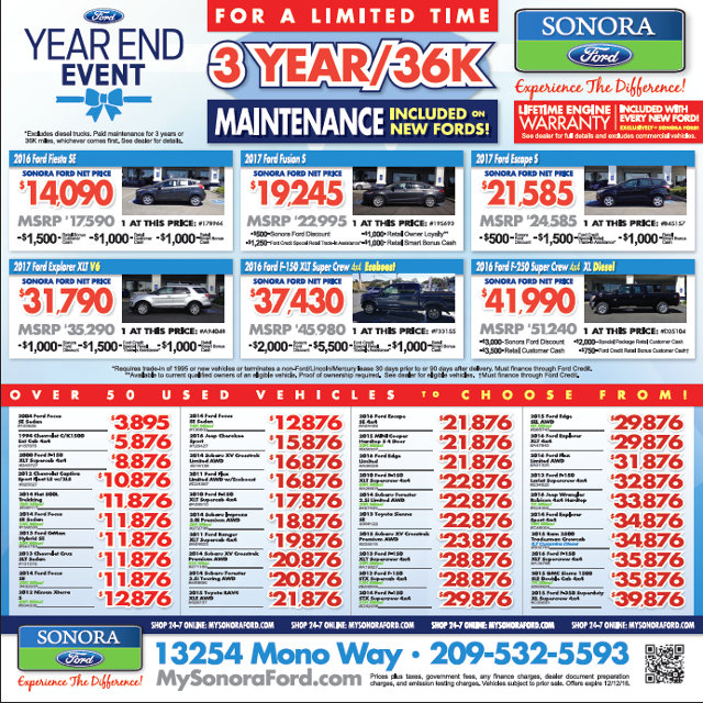 Three Year/ 36k Maintenance Included On New Fords From Sonora Ford!