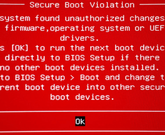 The system found unauthorized changes on the firmware, operating system or UEFI drivers